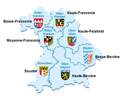 Carte Baviere regions