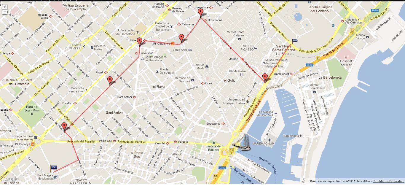 Plan du parcours de la Cabalgata de los Reyes de Barcelone - Cliquez sur la carte pour l'agrandir...