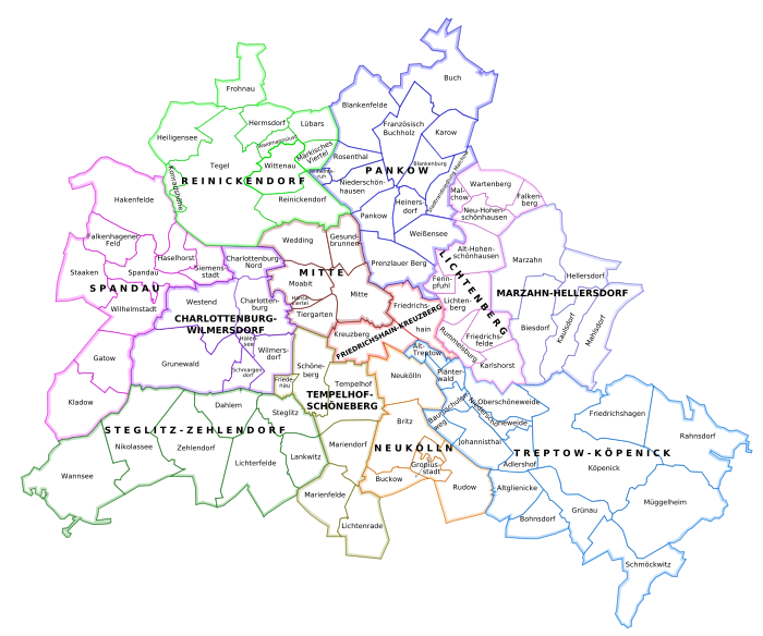 Berlin quartier carte districts