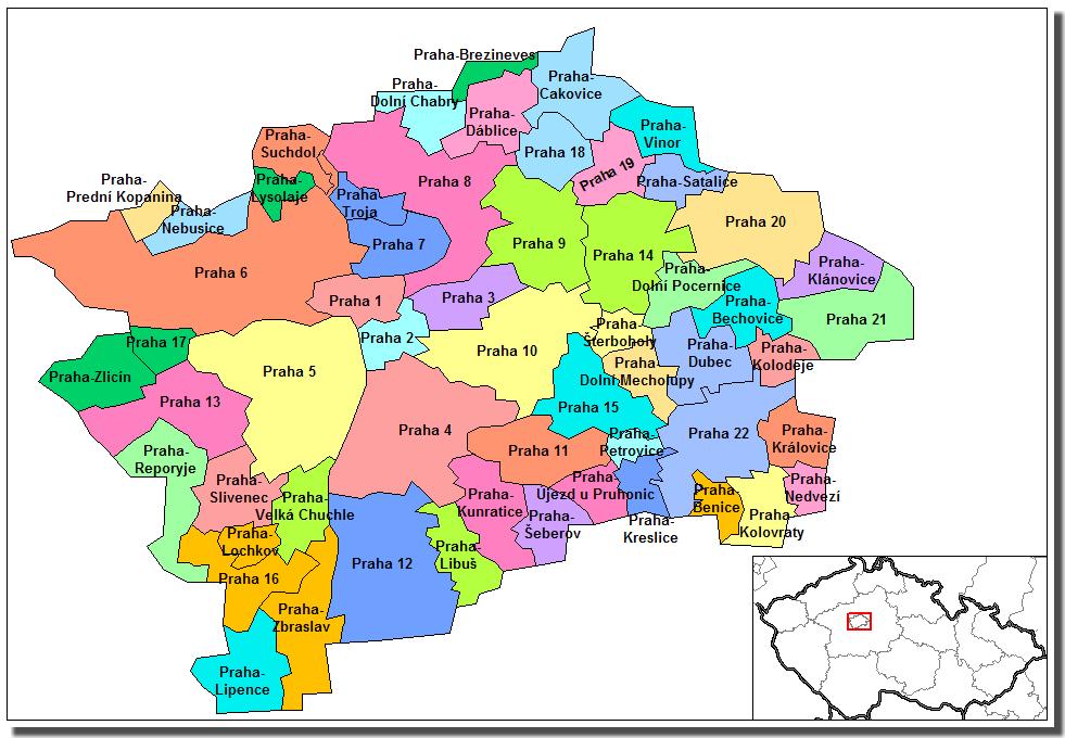 districts Prague plan