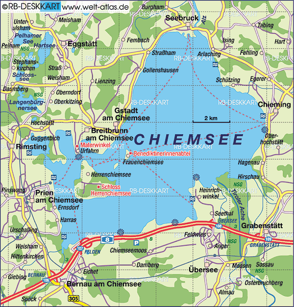 carte chiemsee lac et chiemgau