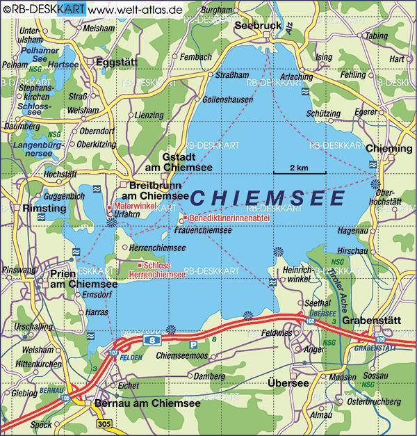 carte chiemsee lac et chiemgau