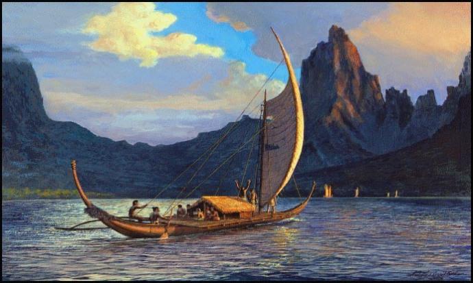 rurutu canoe gravure