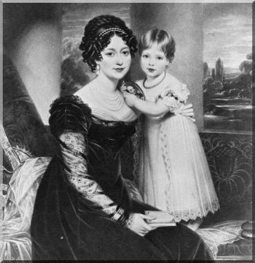 Victoria d'Angleterre enfant avec sa mere