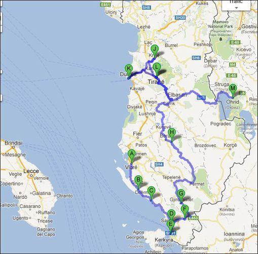 itineraire albanie