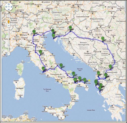 road trip itineraire italie balkans