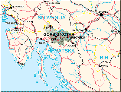 Gorski Kotar carte croatie
