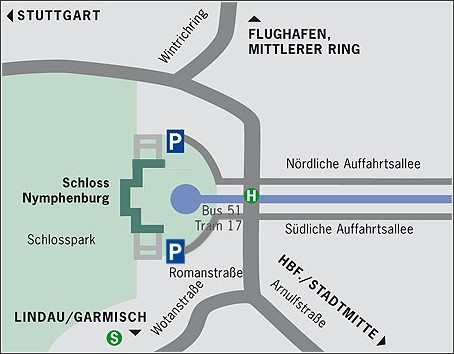 plan acces schloss nymphenburg