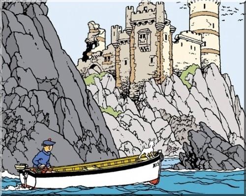 Tintin l'ile noire tintin sur la barque