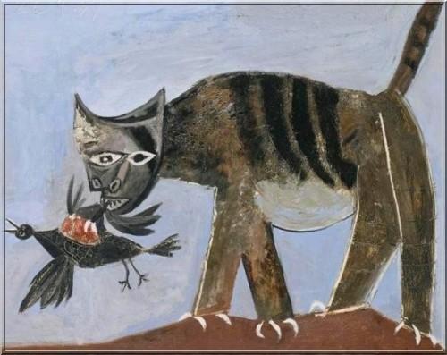 chat saisissant un oiseau picasso