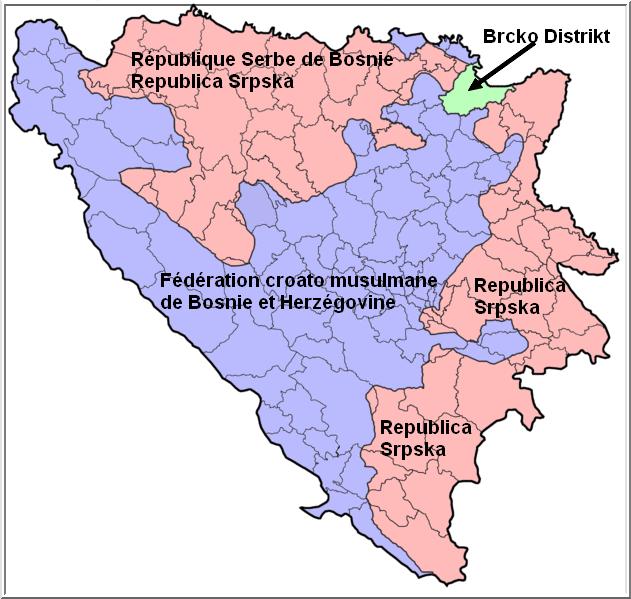 Bosnie herzégovine carte entites