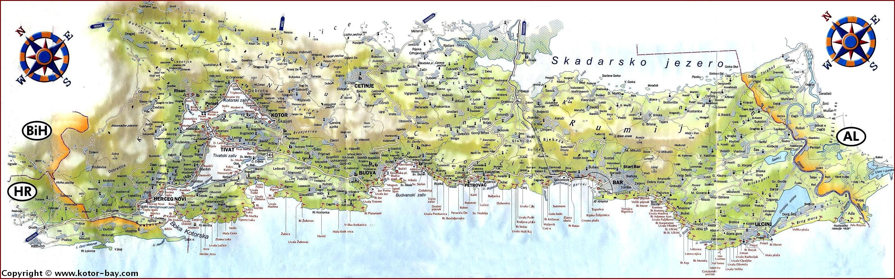 carte montenegro cote adriatique