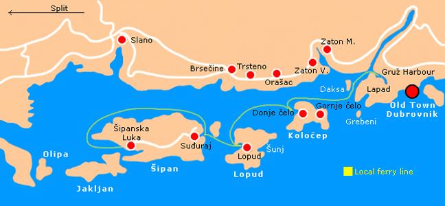 iles elaphites carte croatie