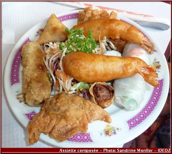restaurant aux delices d'asie assiette composée