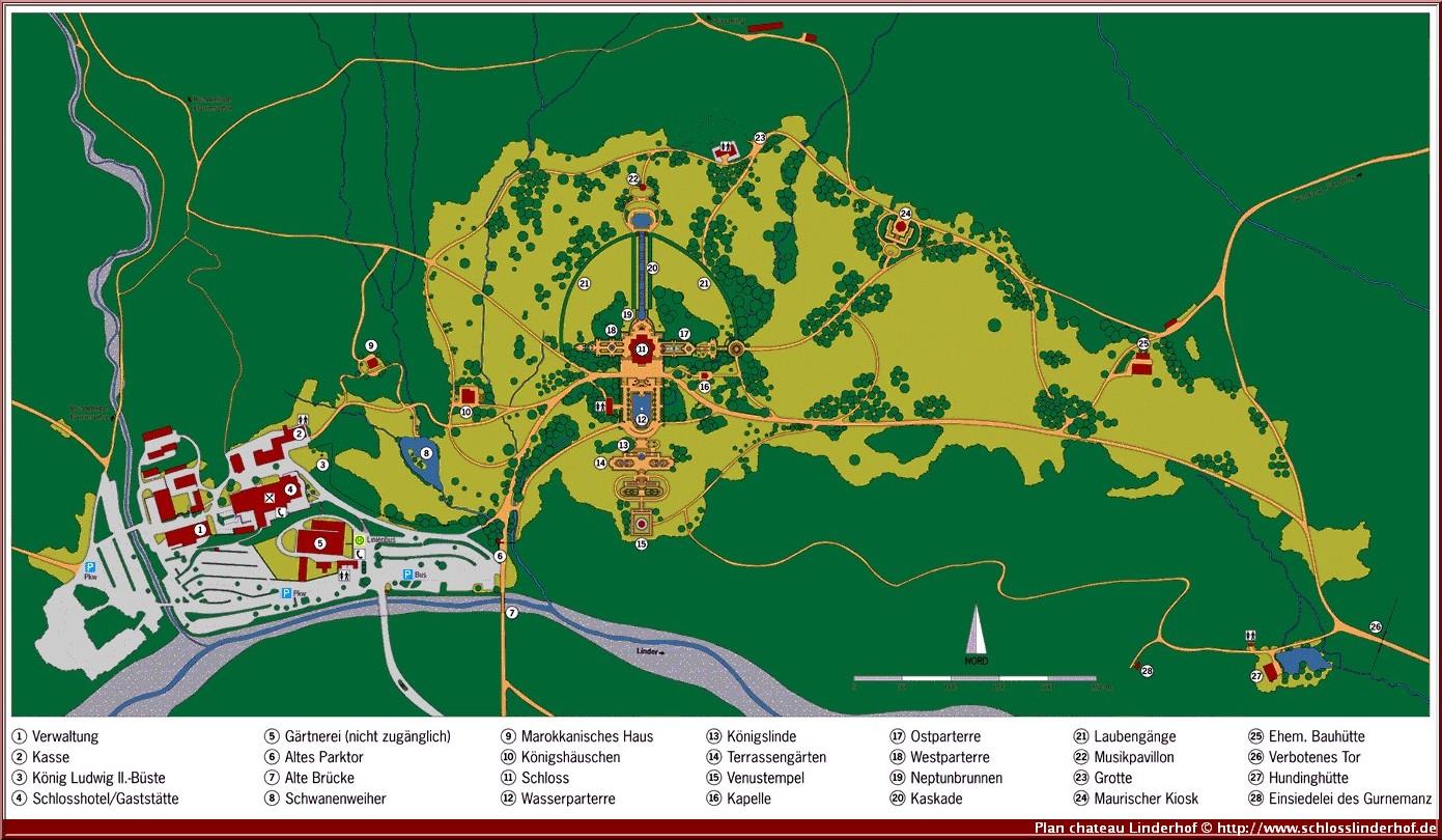 plan chateau linderhof et parc