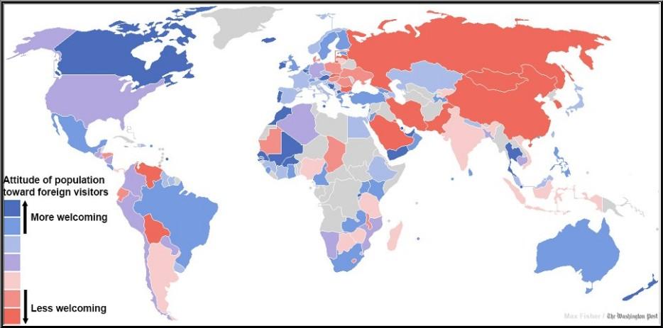 pays plus ou moins accueillants vis a vis des touristes