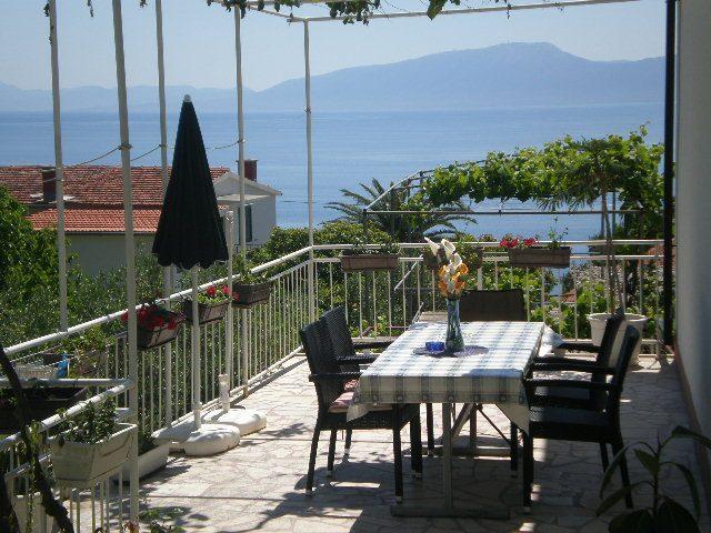 Studio Podaca terrasse et vue sur mer