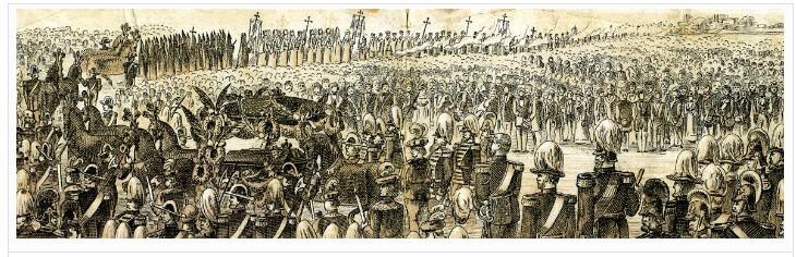 Lithographie du convoi funéraire de Louis II de Bavière vers 1890