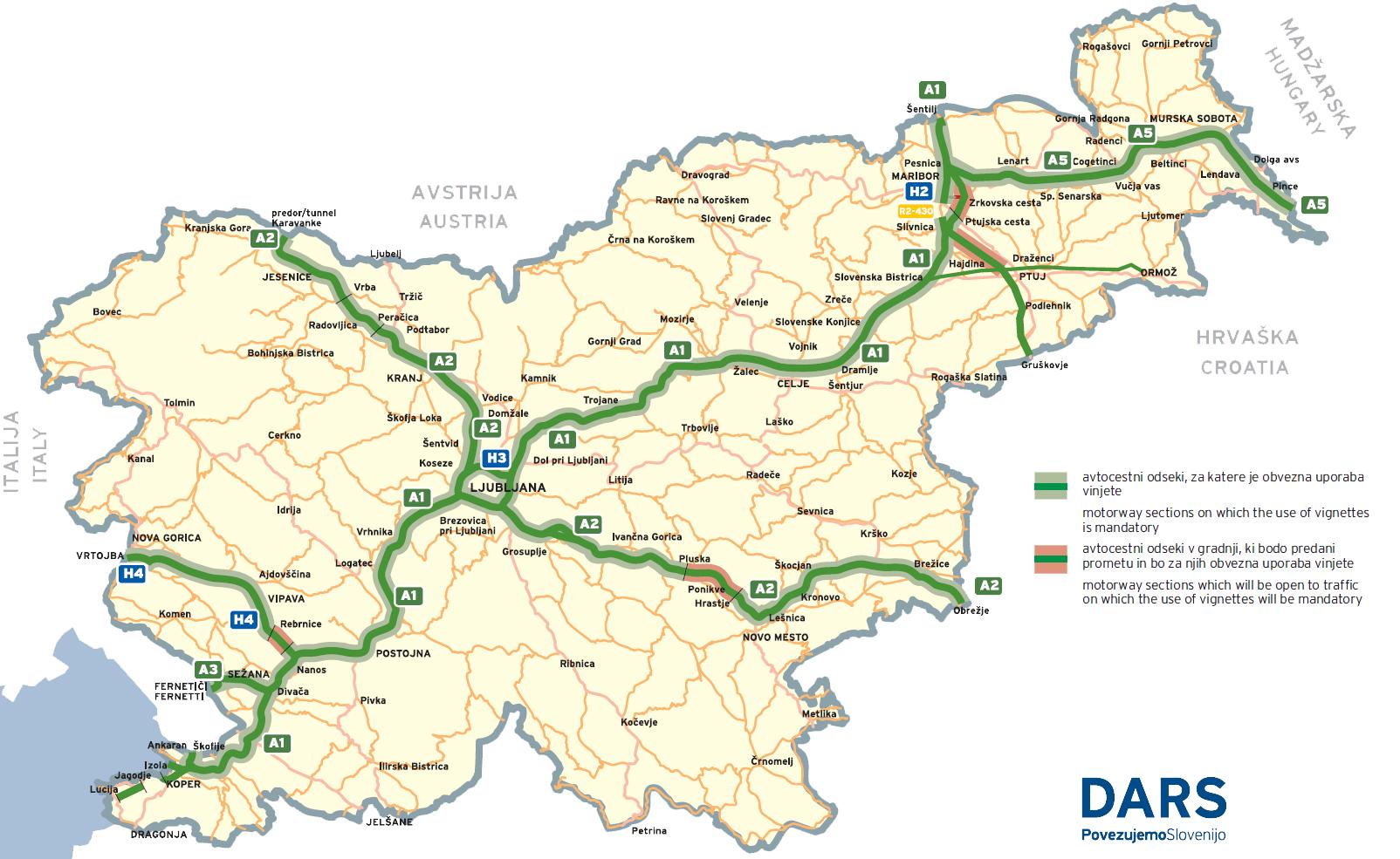 carte autoroute slovenie