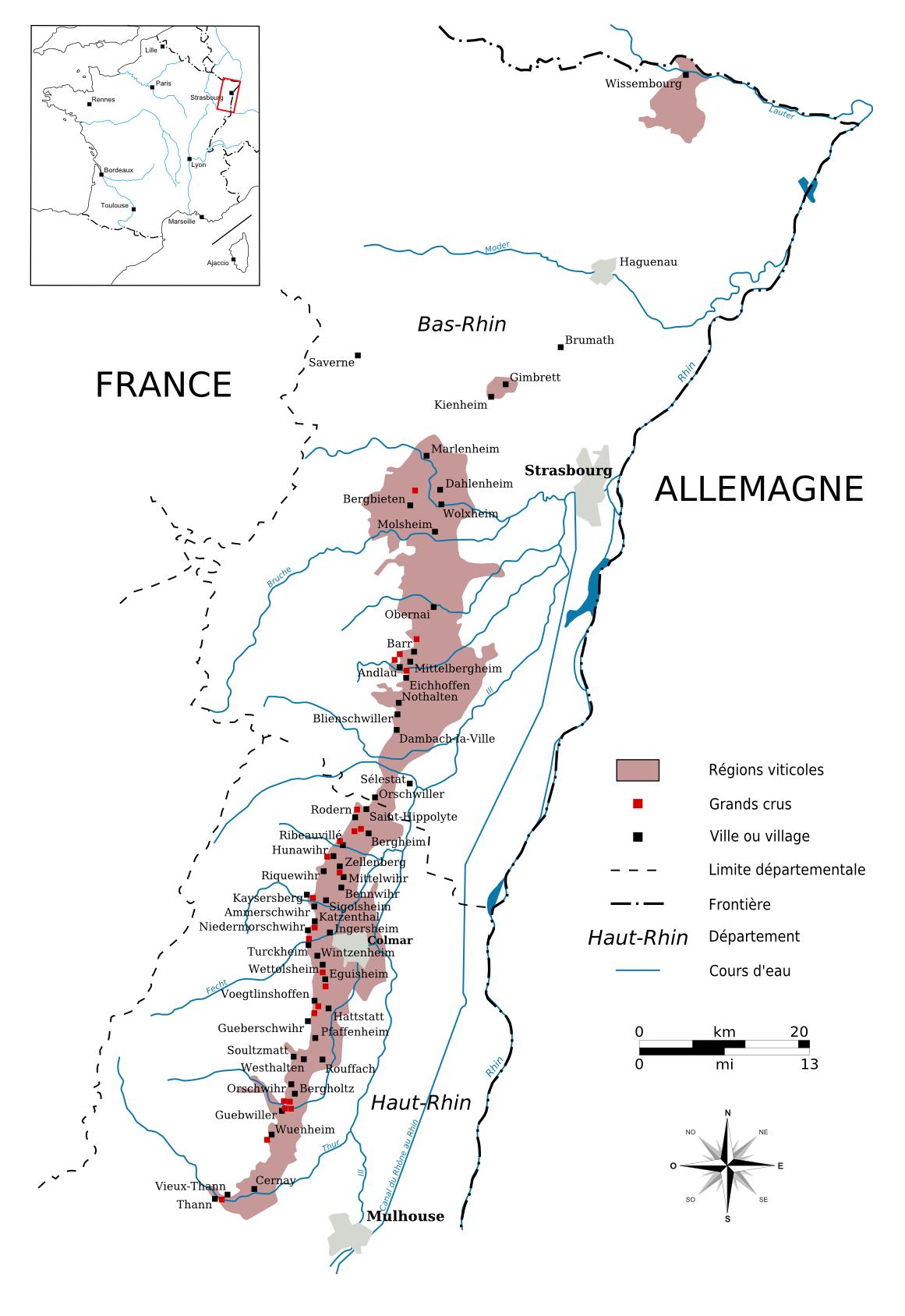 Carte de la route des vins d'Alsace Vignobles alsaciens