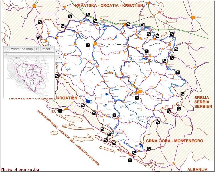 carte bosnie herzegovine transports