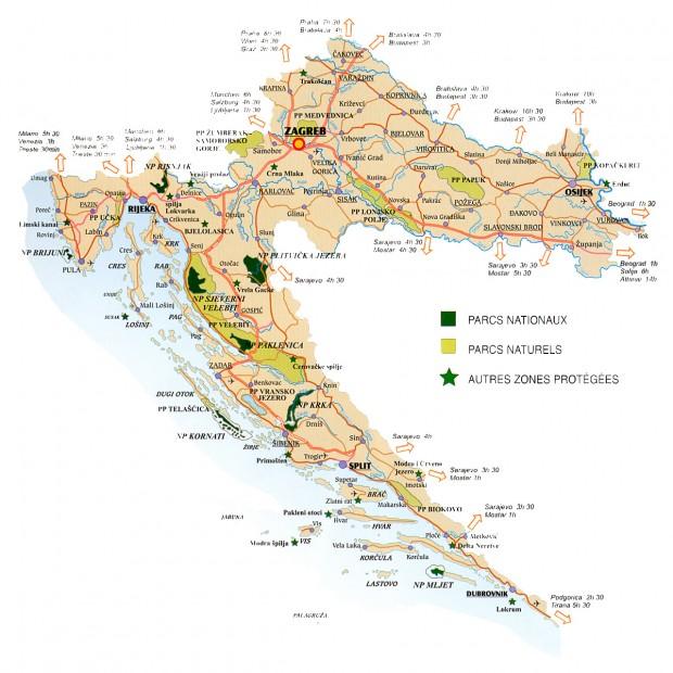 Carte croatie tourisme vert parcs nationaux