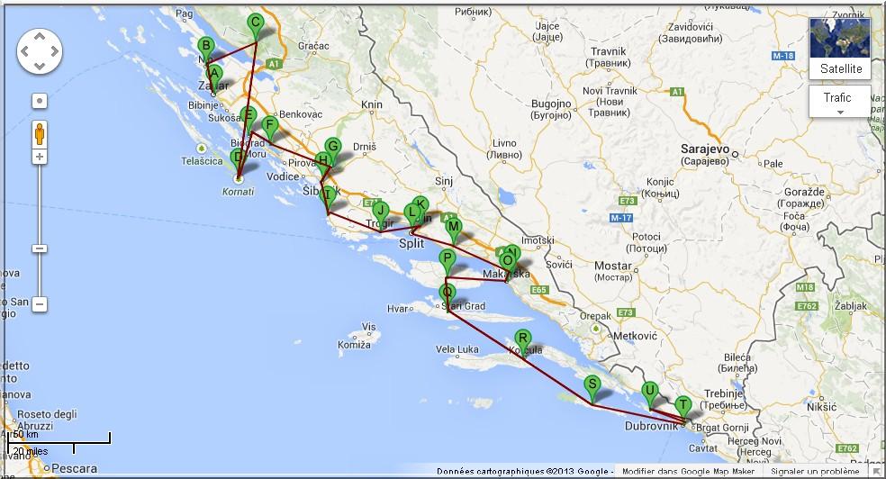 itineraire dalmatie croatie
