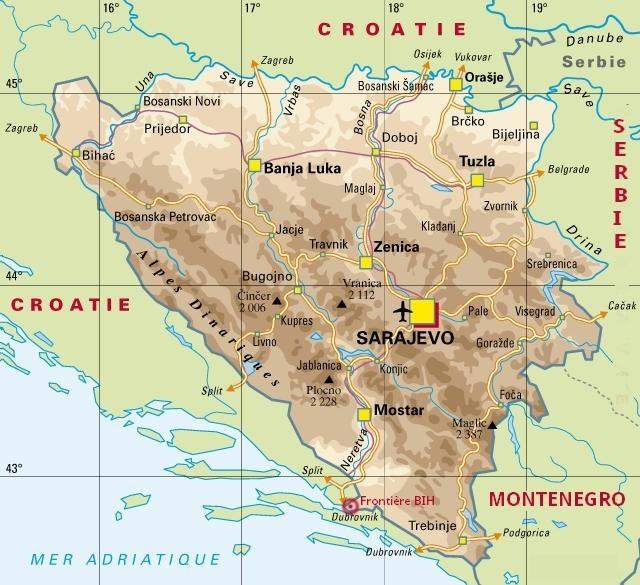 carte bosnie herzegovine BIH