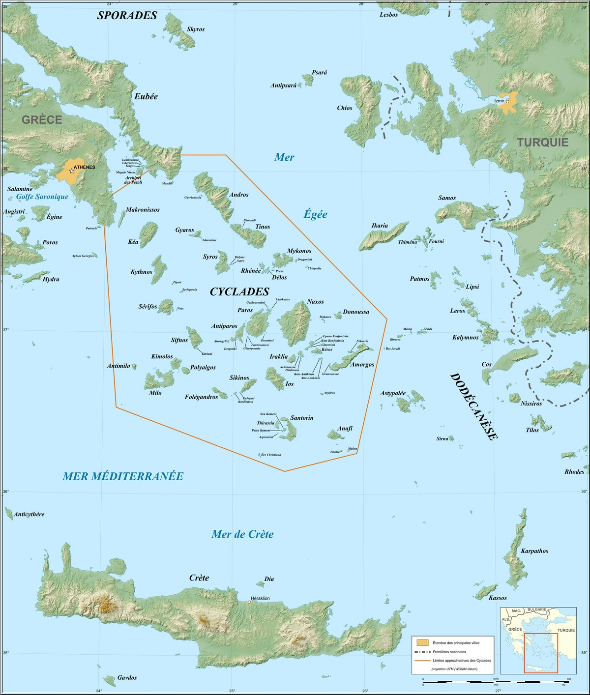 carte cyclades iles grecques