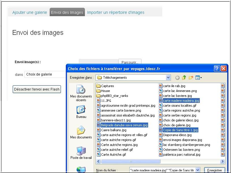 envoi images