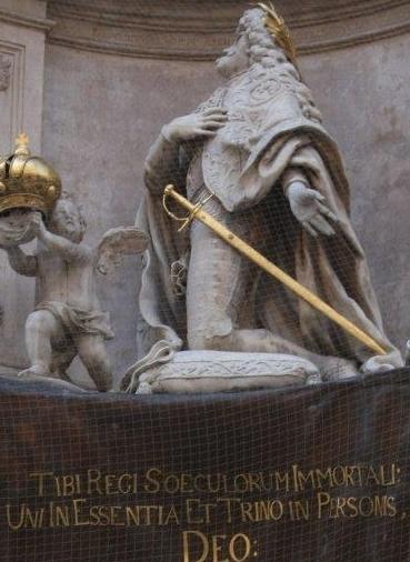 La statue de Léopold Ier sur la colonne de la peste