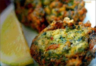 Beignets d'épinards aux oignons verts