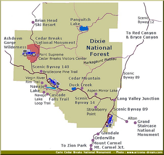 cedar breaks national monument carte