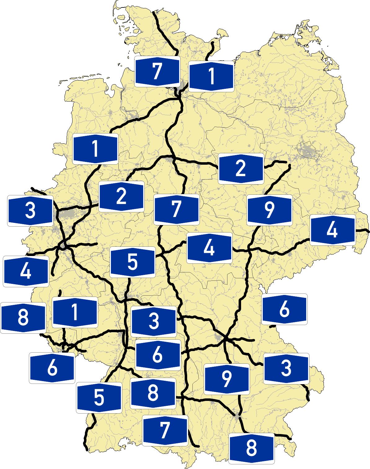 autoroute allemagne carte Autobahn 1 a 9