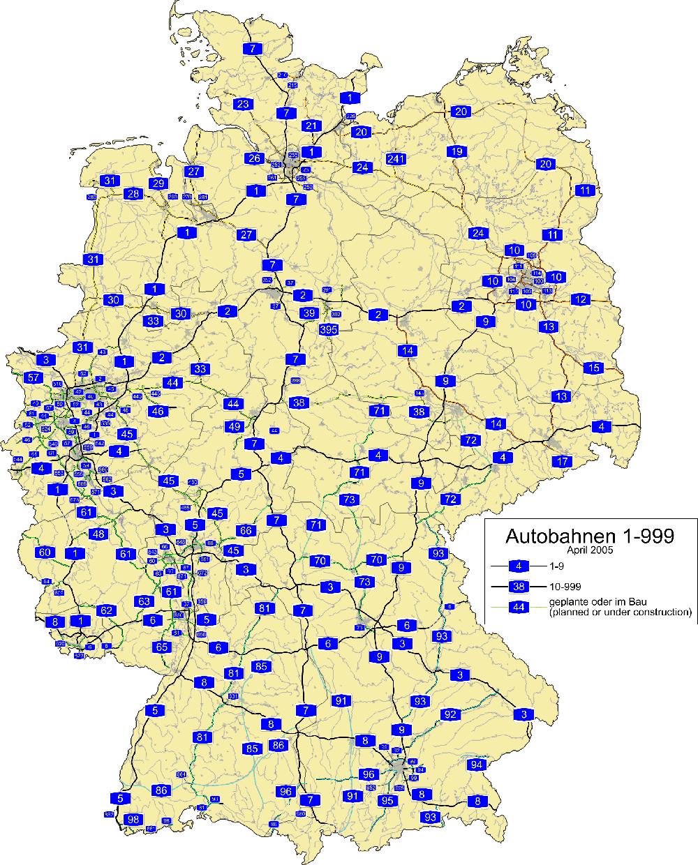 carte autoroutes allemandes