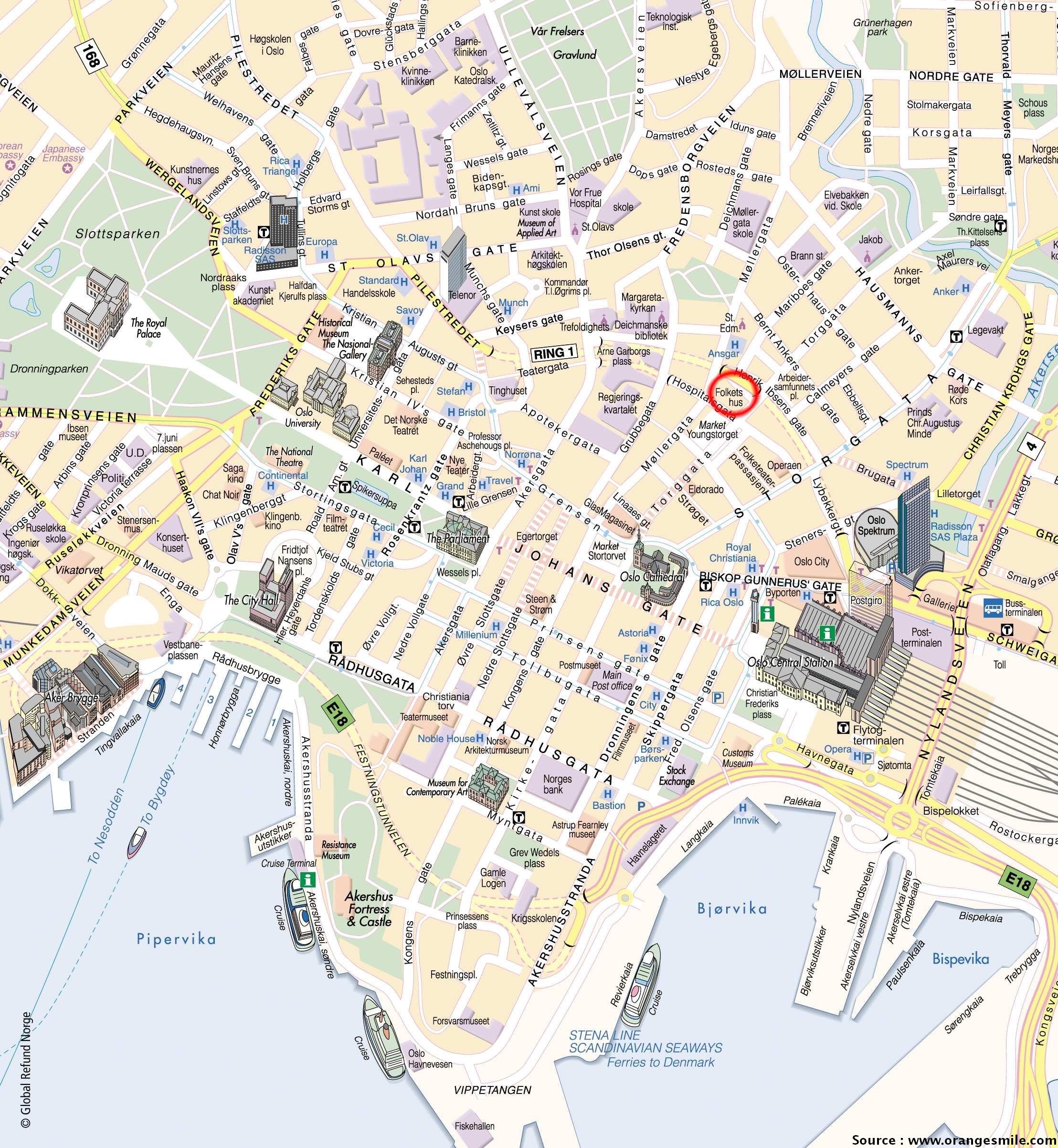 Visiter oslo que voir et que faire oslo en norv ge for Carte touristique