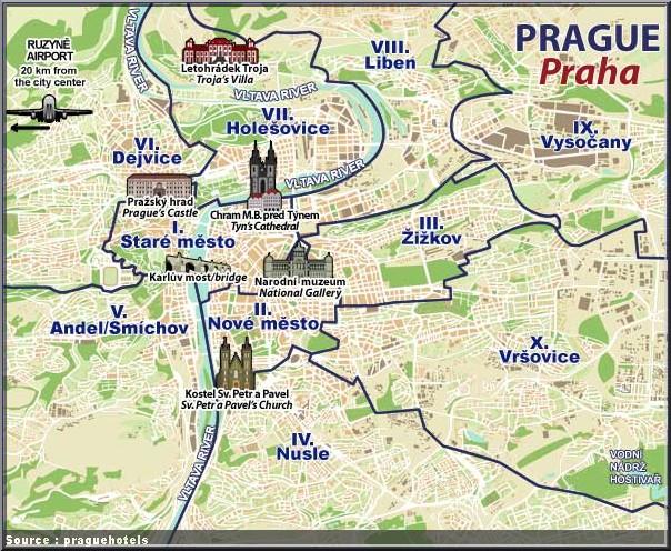 carte prague quartiers