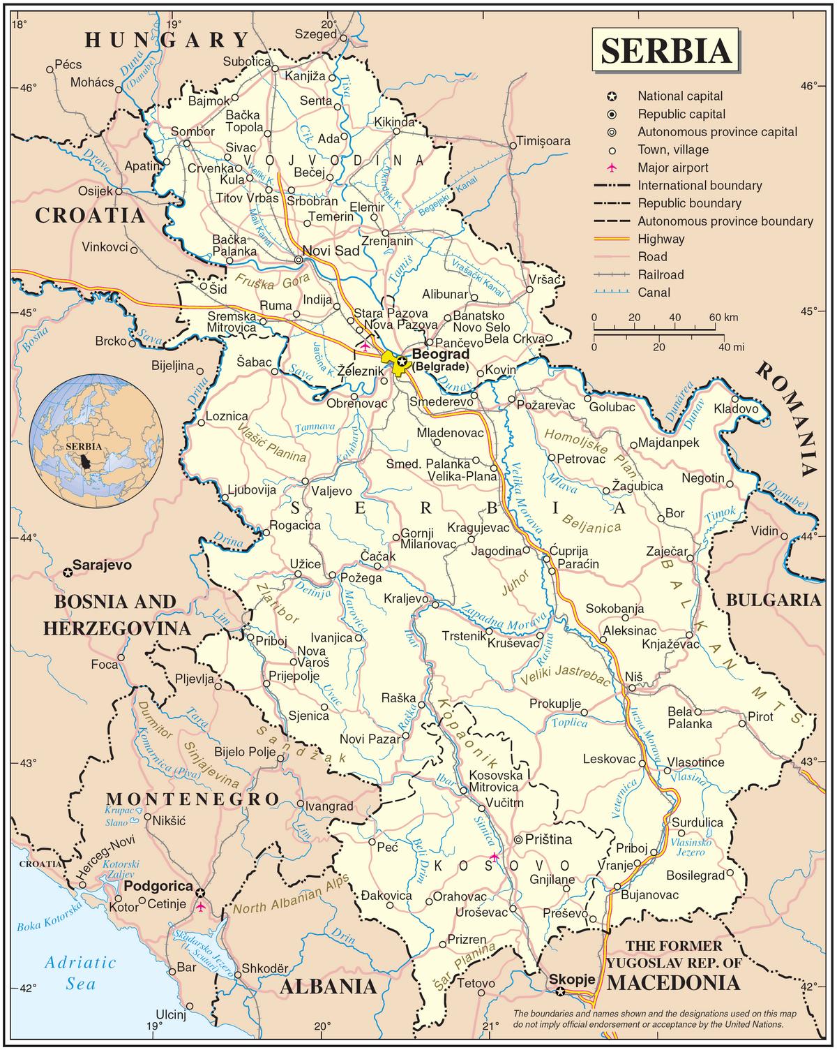 carte serbie