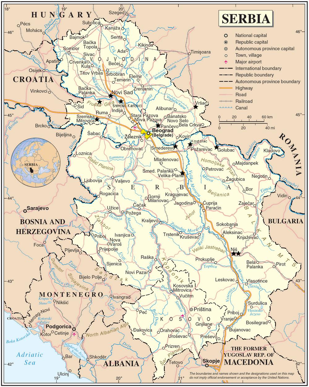 excursions depuis belgrade carte serbie