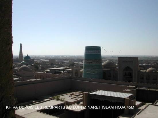 khiva rempoart minaret islam hoja