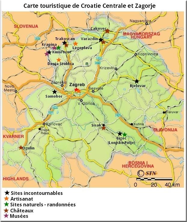 carte touristique croatie centrale