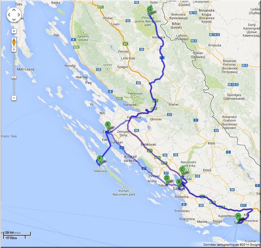 croatie en solo itineraire split krka vodice kornati plitvice