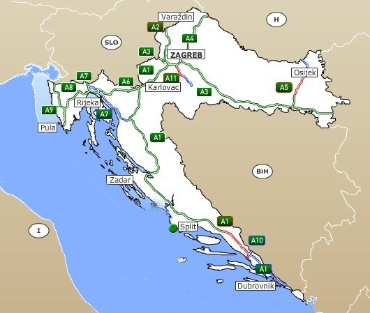carte autoroutes croatie