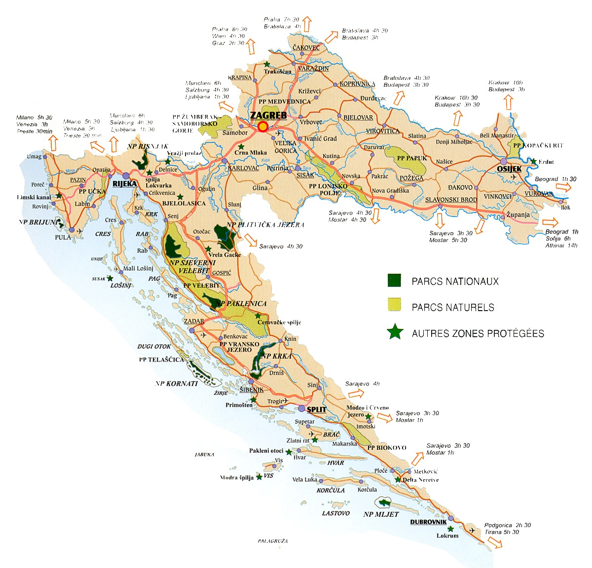 Croatie Carte Fete.Carte De Croatie Regions Reliefs Sites A Ne Pas Manquer Routes