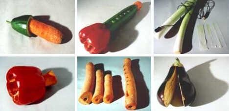 légumes transformés en instruments de musique lors du concert de légumes de vienne