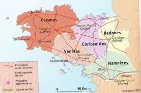 principales voies romaines bretonnes à l'époque de la Gaulle
