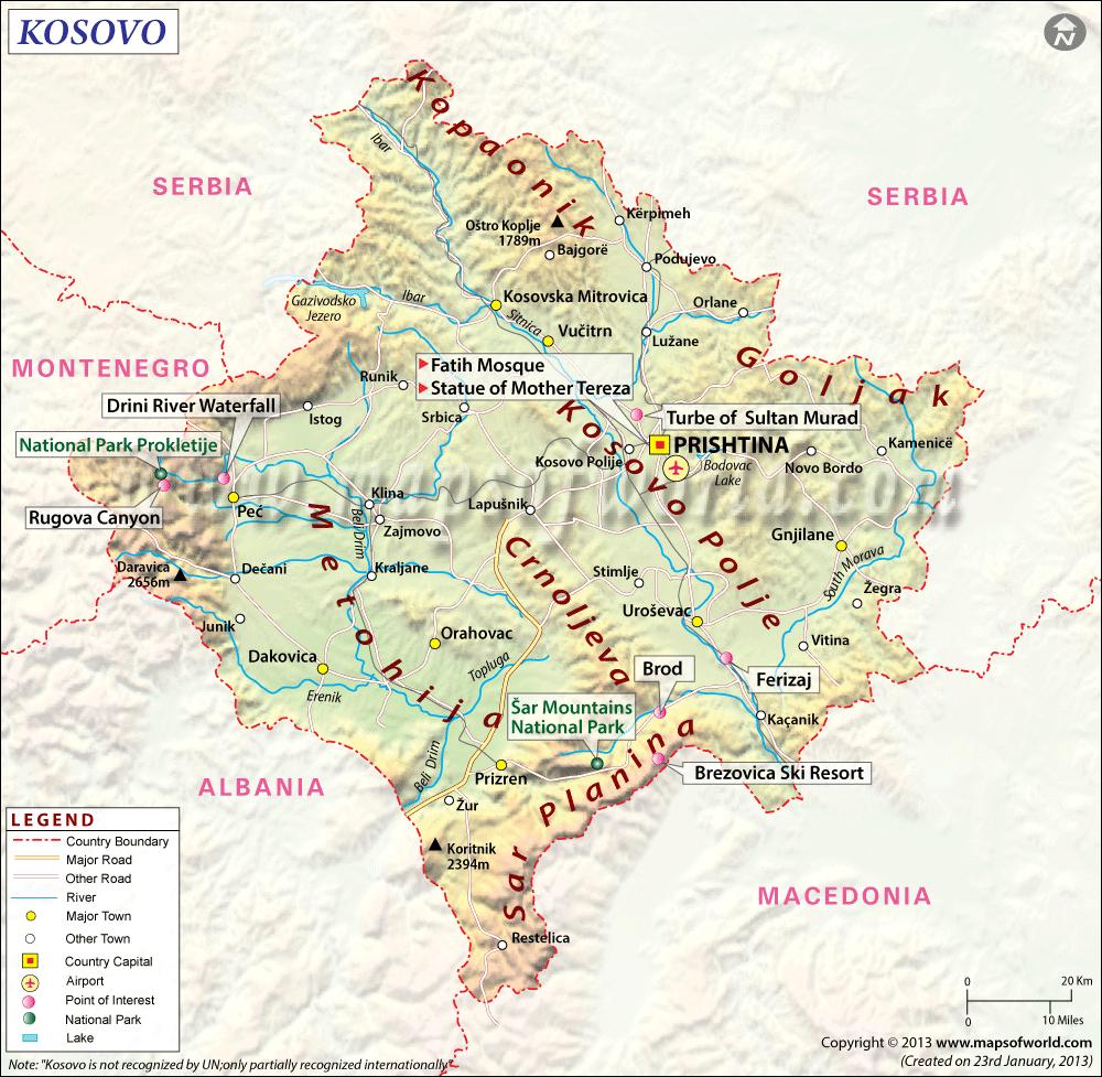 kosovo carte touristique