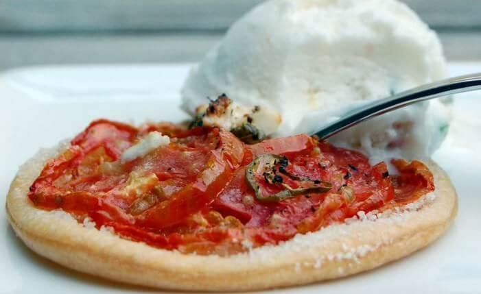 tarte fine tomate sorbet chevre