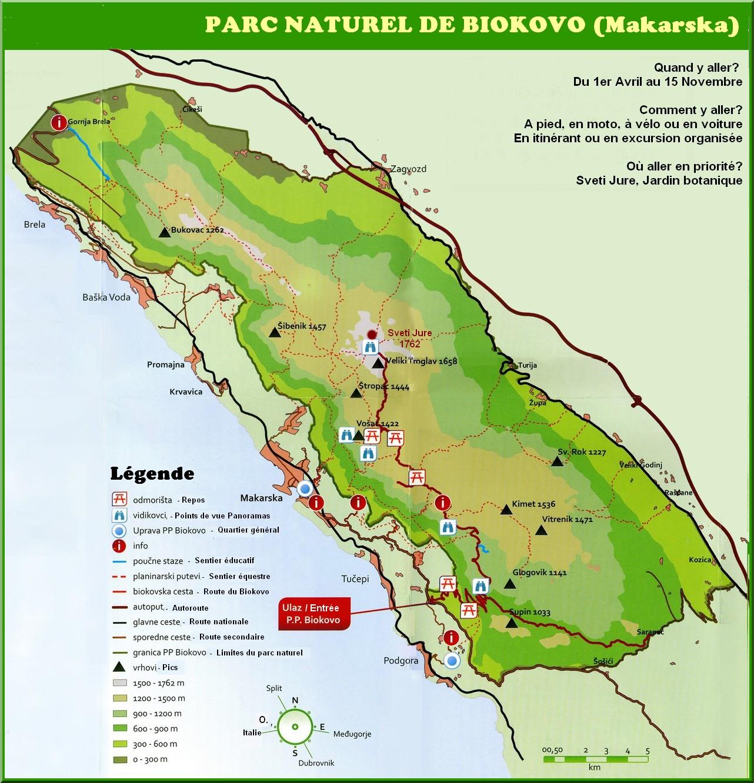 Parc Naturel du Biokovo - Plan touristique