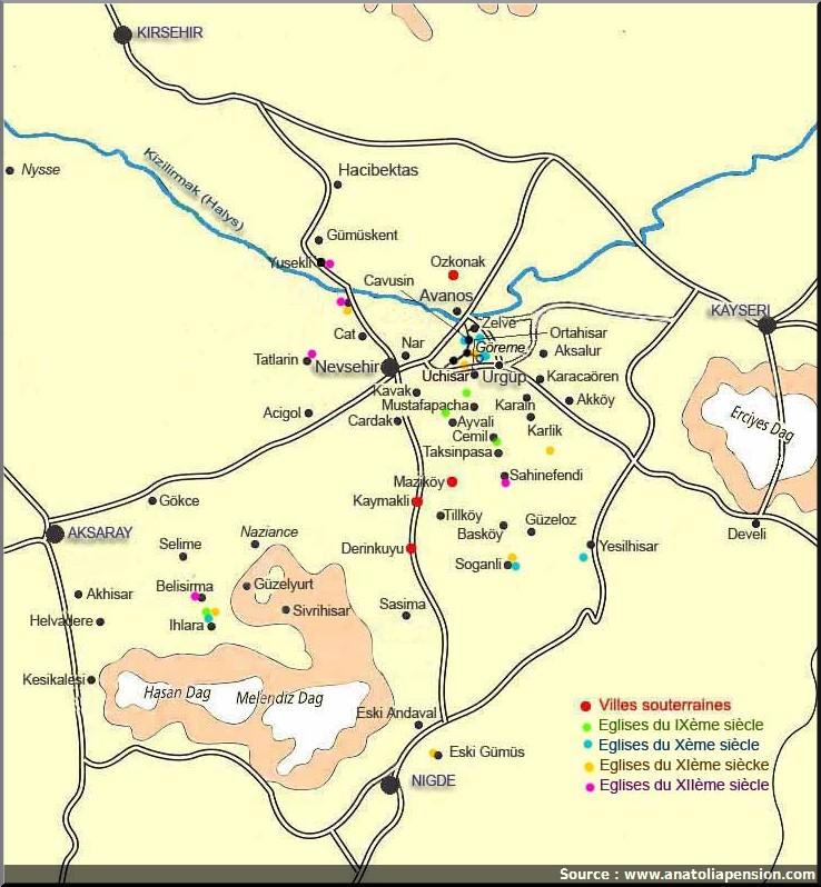 carte cappadoce sites touristiques